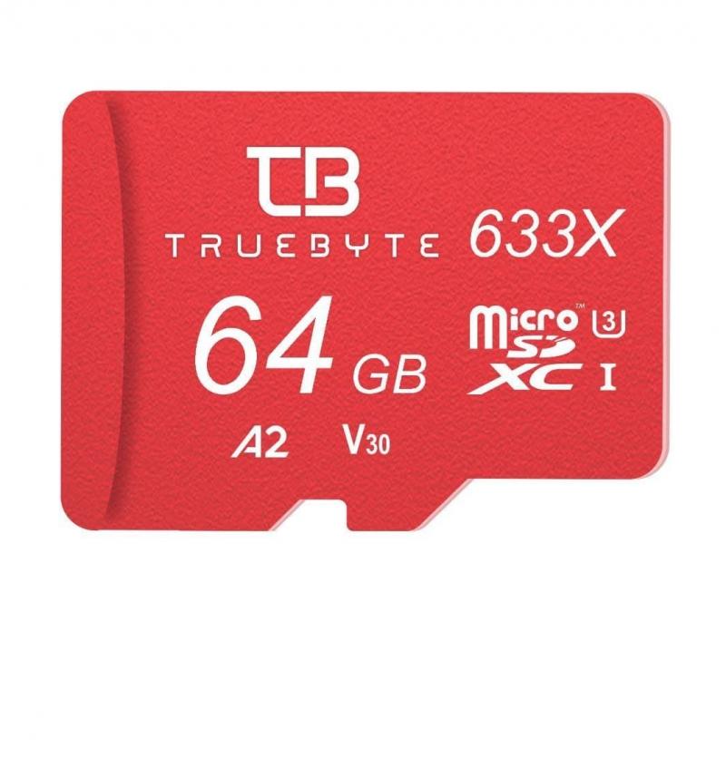 کارت حافظه microSD XC تروبایت مدل 633X-A2-V30 کلاس 10 استاندارد UHS-I U3 ظرفیت 64 گیگابایت همراه با کارت خوان