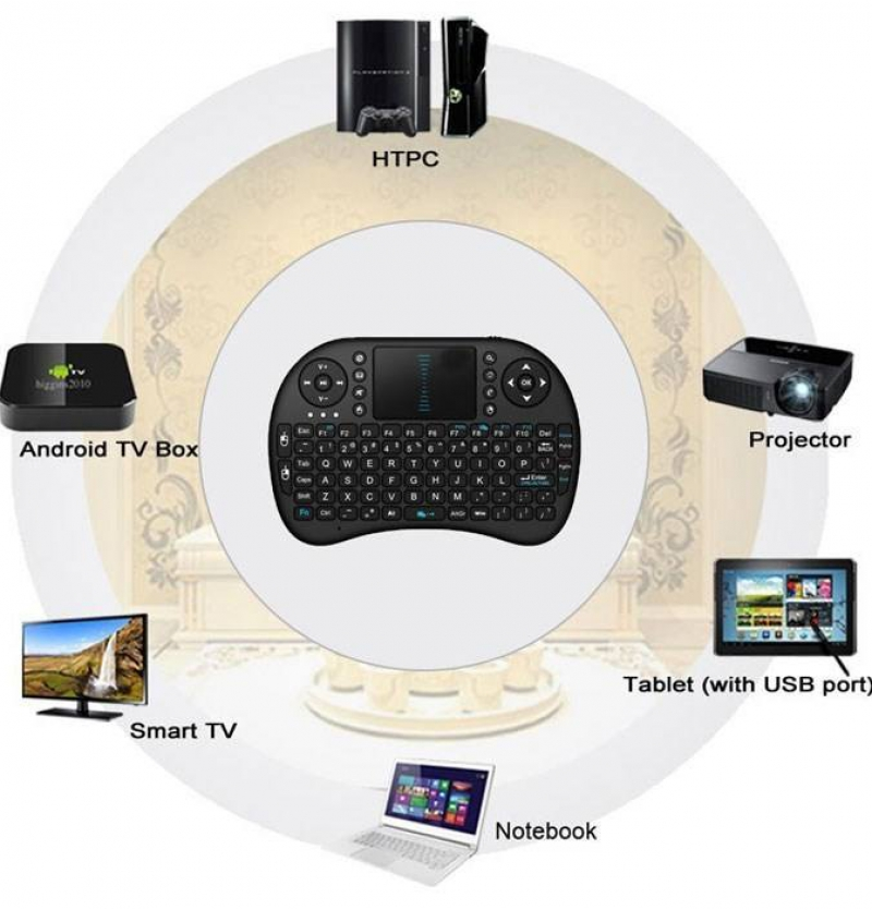 مینی کیبورد بی سیم همراه با تاچ پد مدل WIFI 2.4GHz